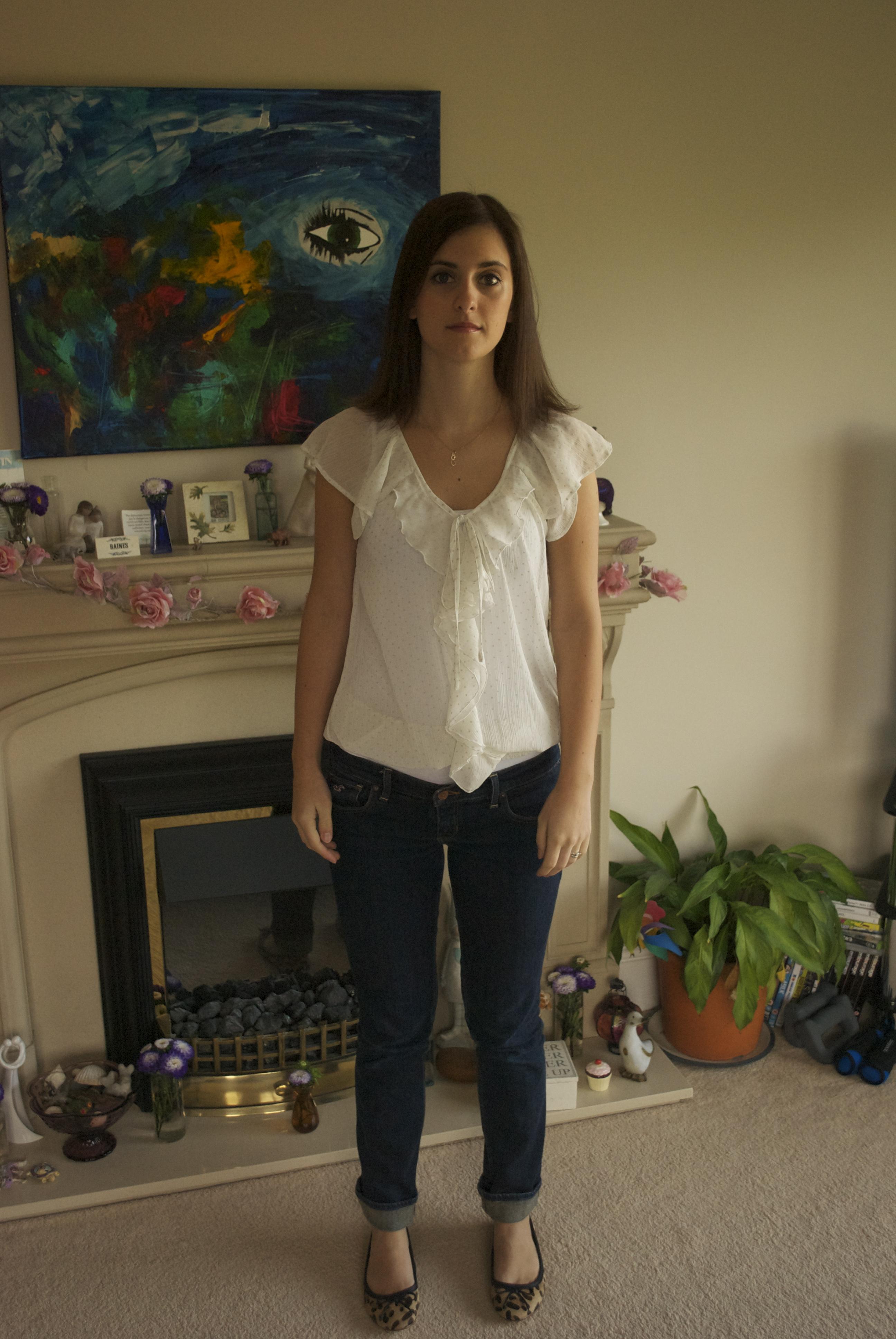 White Primark blouse, Hollister jeans, Stylist Pick leopard print ballet pumps