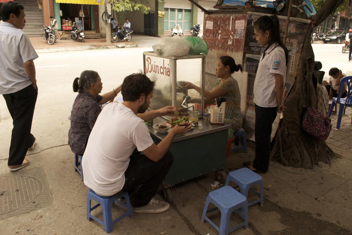Bun Cha street food in Hanoi Vietnam