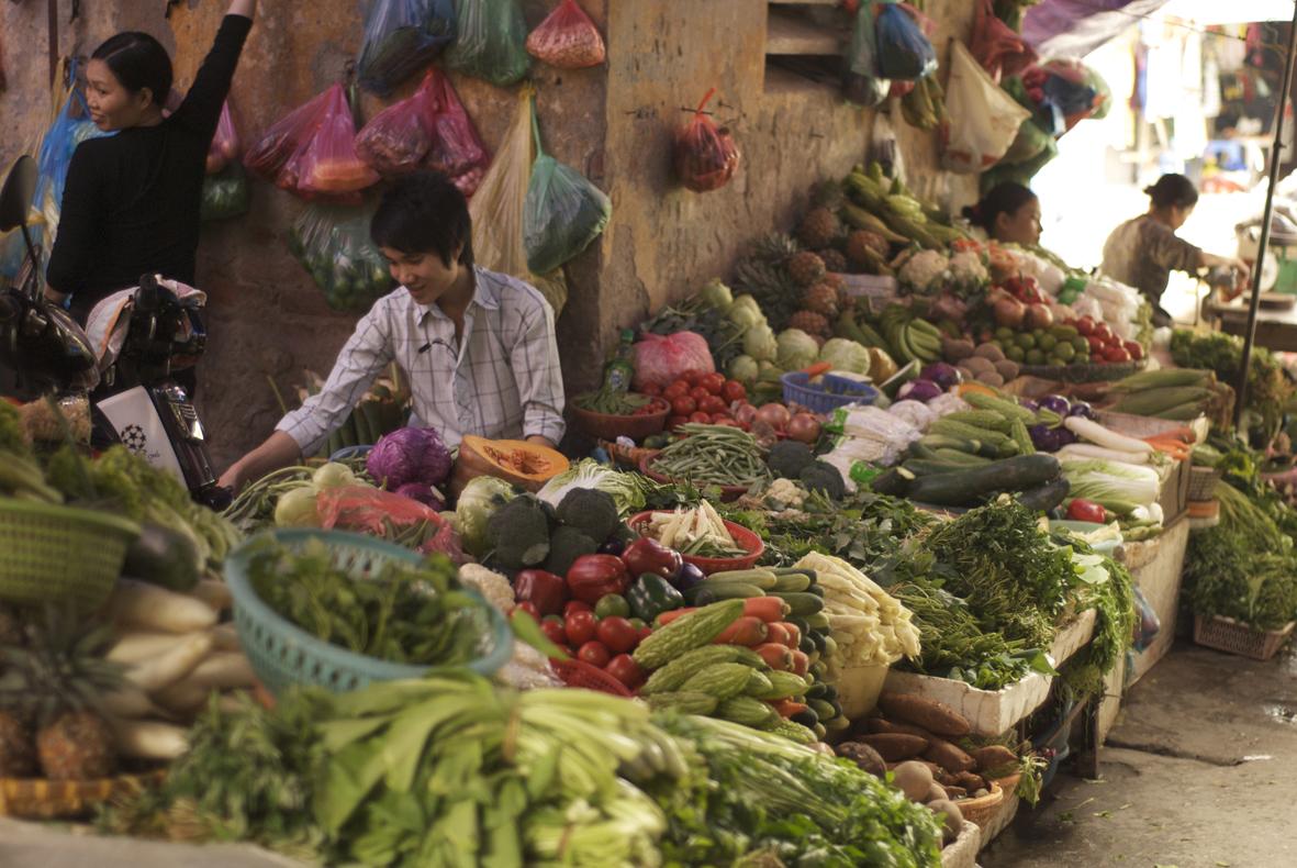 Market in Hanoi Vietnam