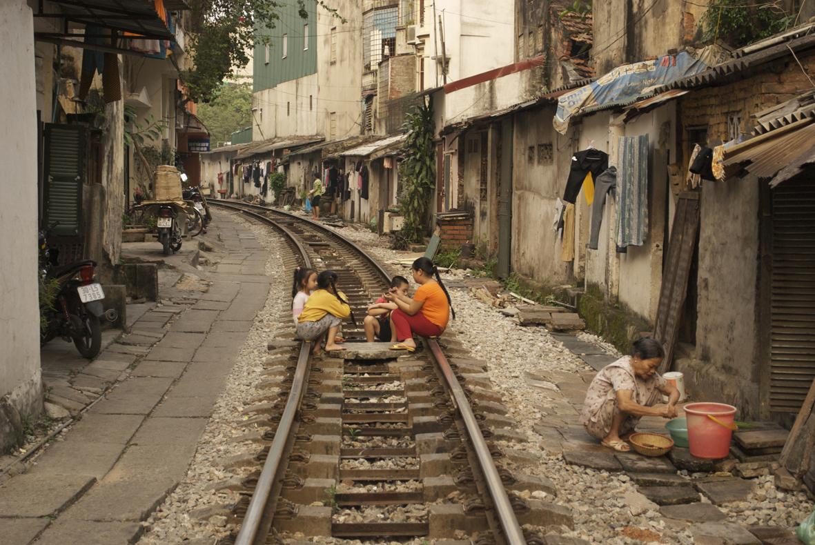 Railway line, Hanoi, Vietnam